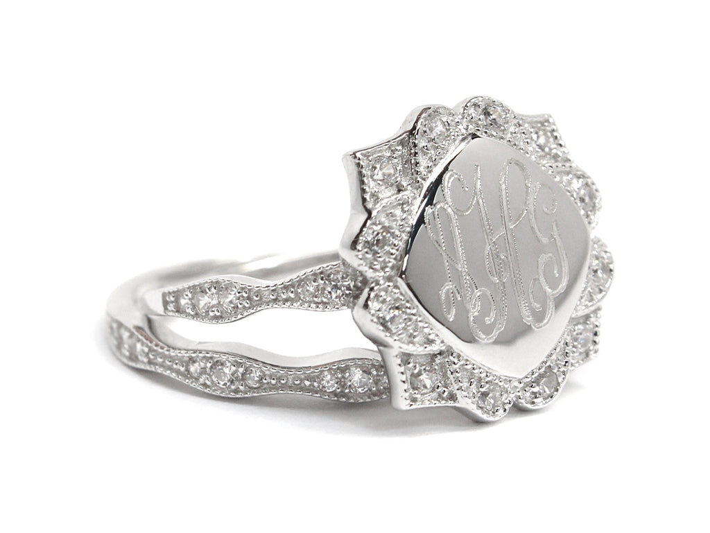 Sterling Silver Engravable CZ Flower Ring