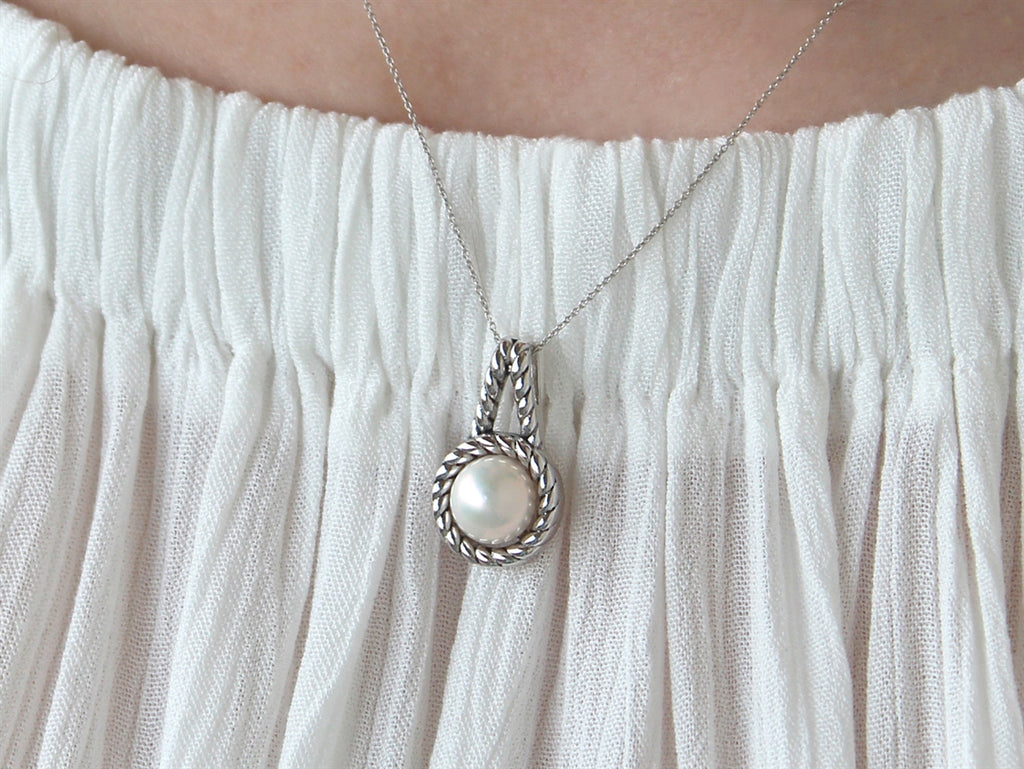 Sterling Silver Double Rope Pearl Pendant