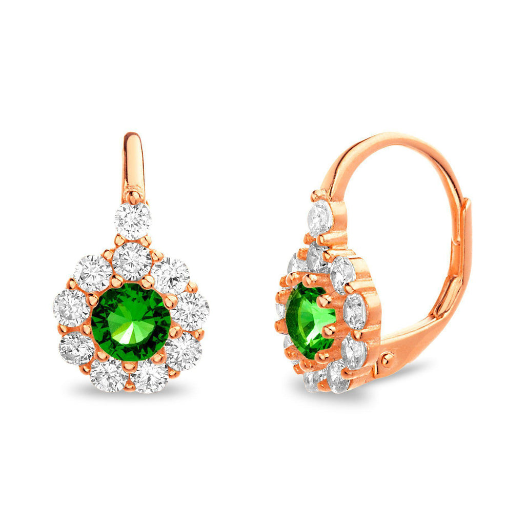 Rose Gold CZ Lever Back Flower Design With Emerald Stone