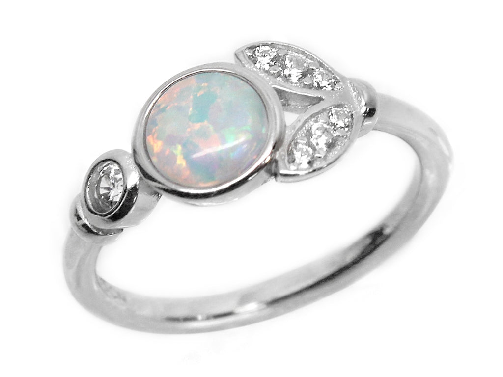 Sterling Silver Opal Leaf Ring - Allyanna Gifts