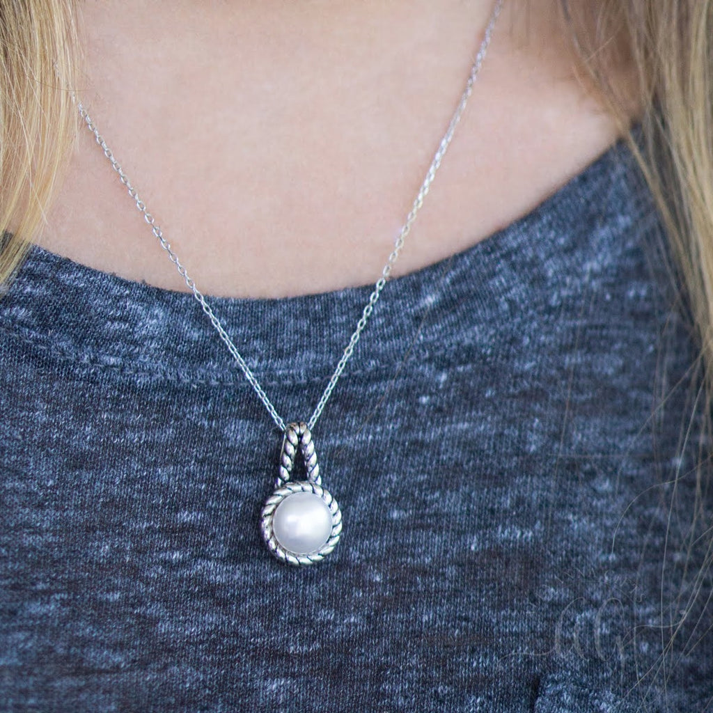Sterling Silver Double Rope Pearl Pendant - Allyanna Gifts