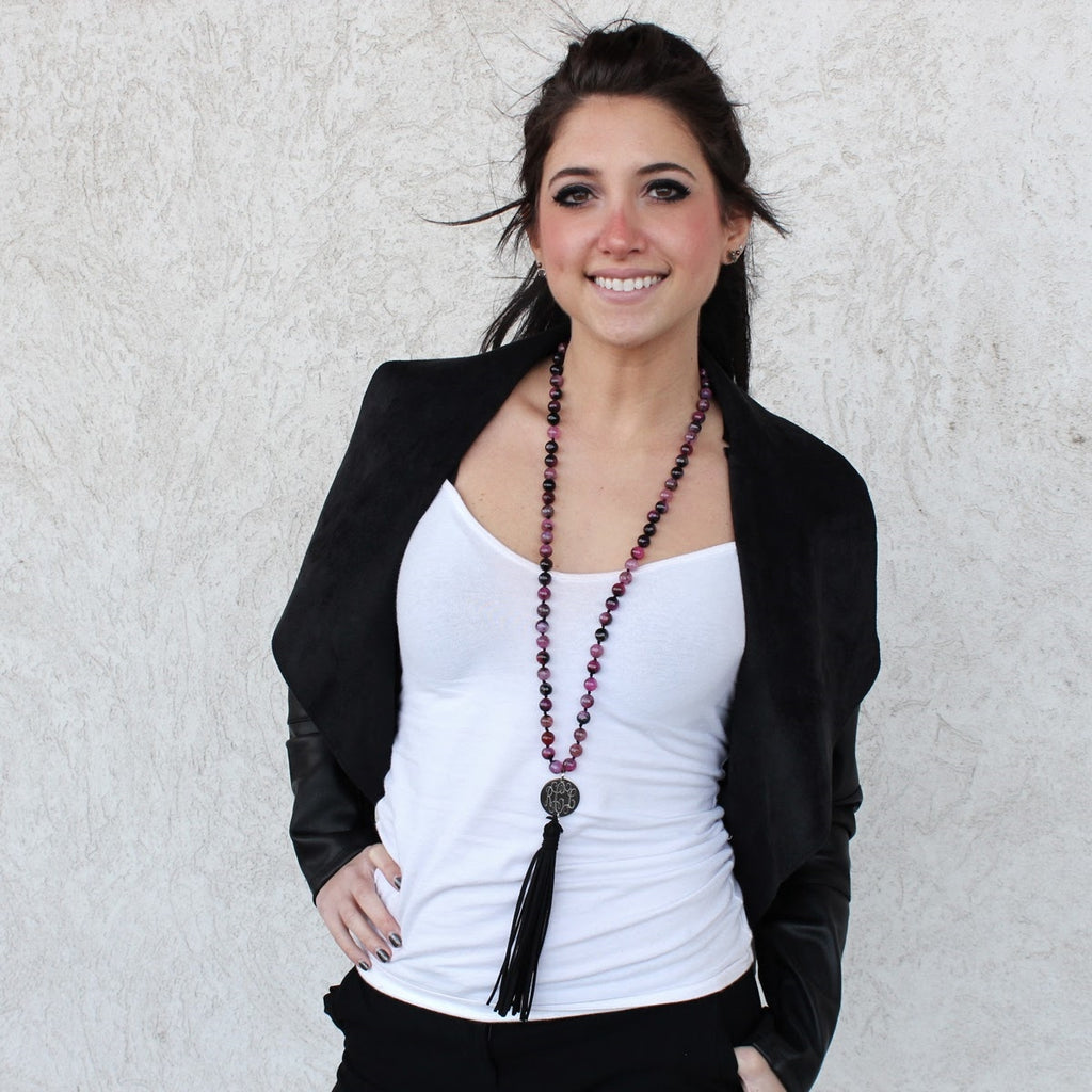 Fuschia Agate Beaded Suede Tassel Necklace - Allyanna Gifts