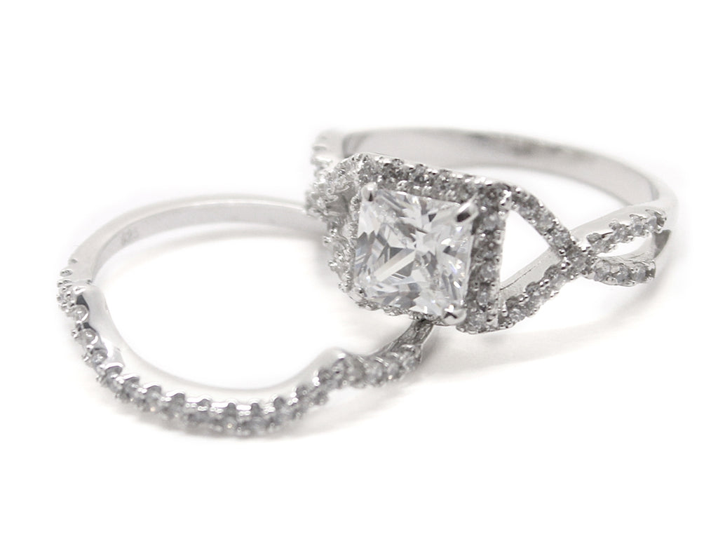 Sterling Silver Decorative Square-cut Ring with Fitted Double CZ Band