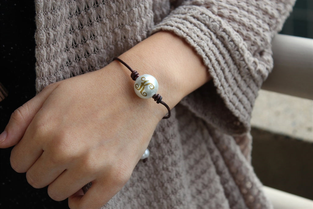 One Pearl Leather Bracelet