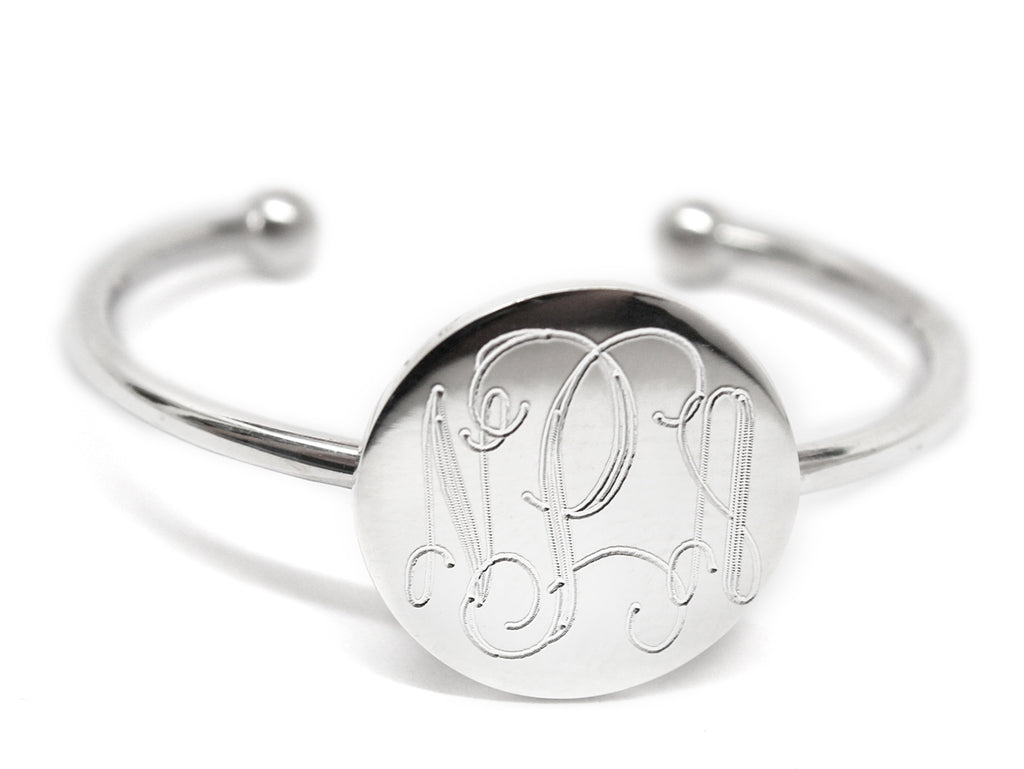 Sterling Silver Engraved Circle Baby Bangle - Allyanna Gifts