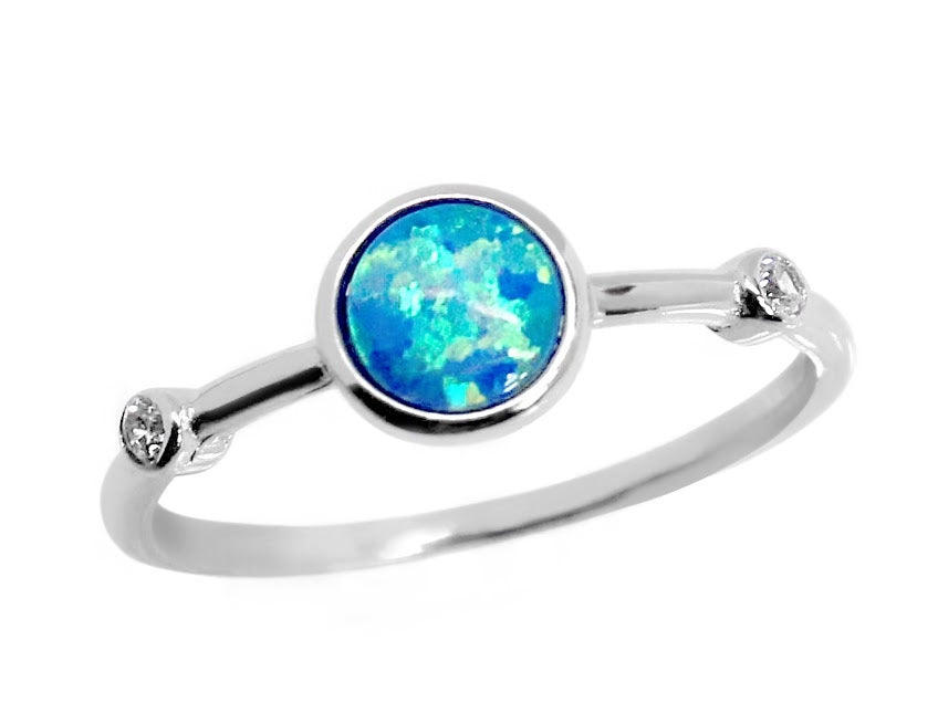 Sterling Silver Blue Opal Single Band Ring
