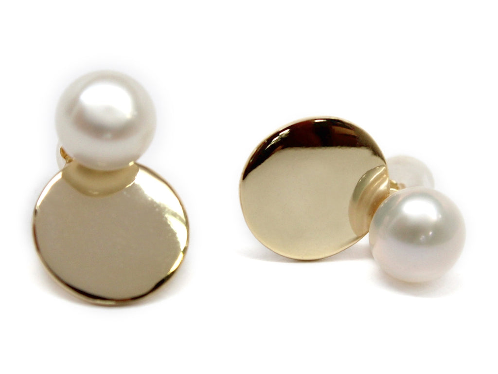 Sterling Silver Pearl Disc Studs