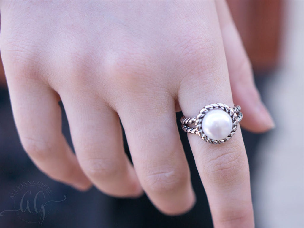 Sterling Silver Double Rope Pearl Ring