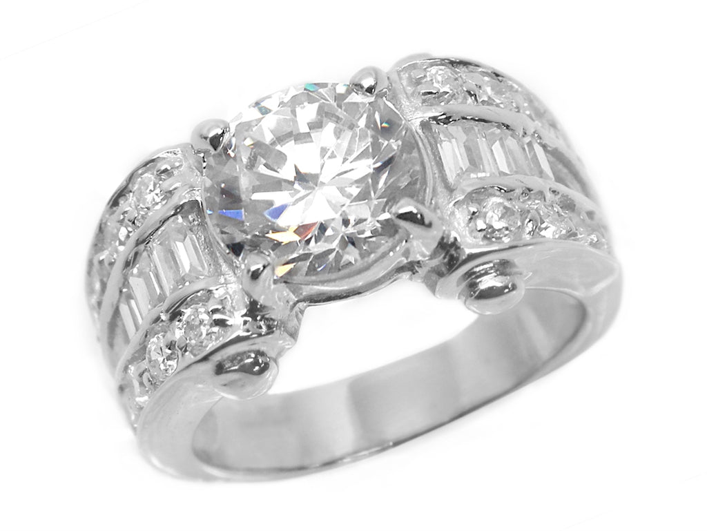 Sterling Silver Circle-cut CZ Ring with Graduated CZ Band