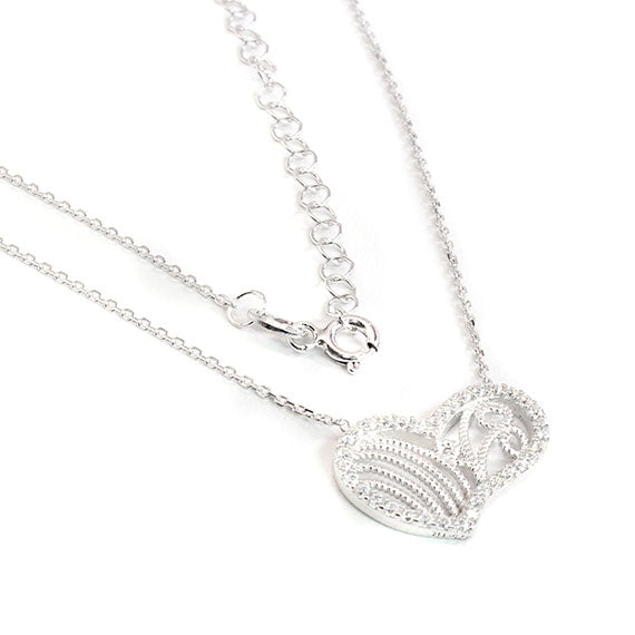 Sterling Silver Whimsical Hearts Necklace