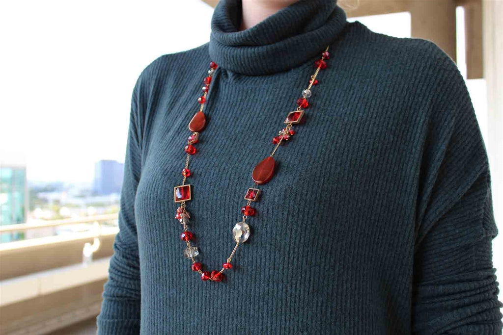 Red Glass and Agate Stone Gold Chain Necklace