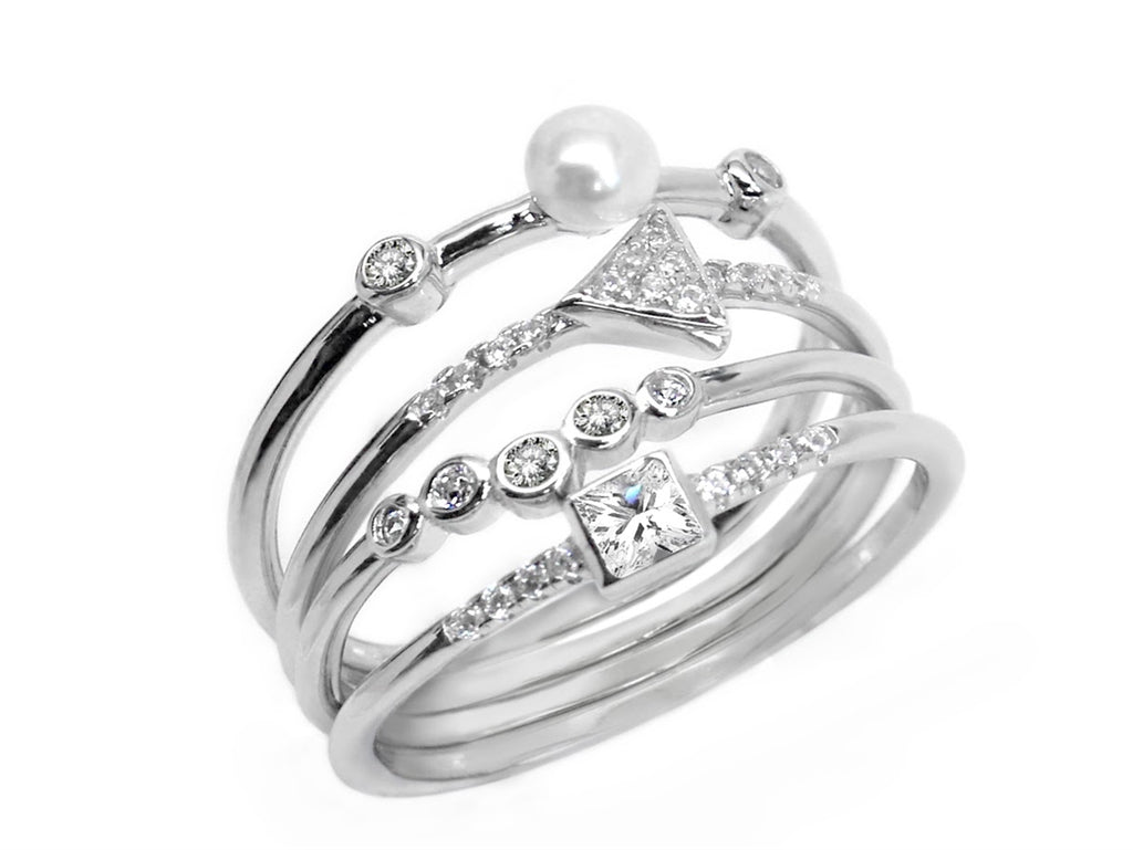 Sterling Silver Quad Band Pearl CZ Ring