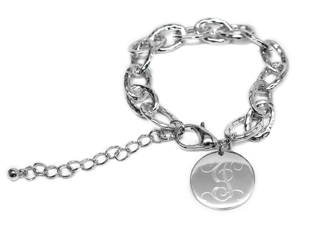 Designer Inspired Hammered Bracelet with Monogrammed Disc - Allyanna Gifts