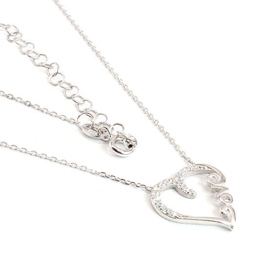 Sterling Silver Love With All Your Heart Necklace