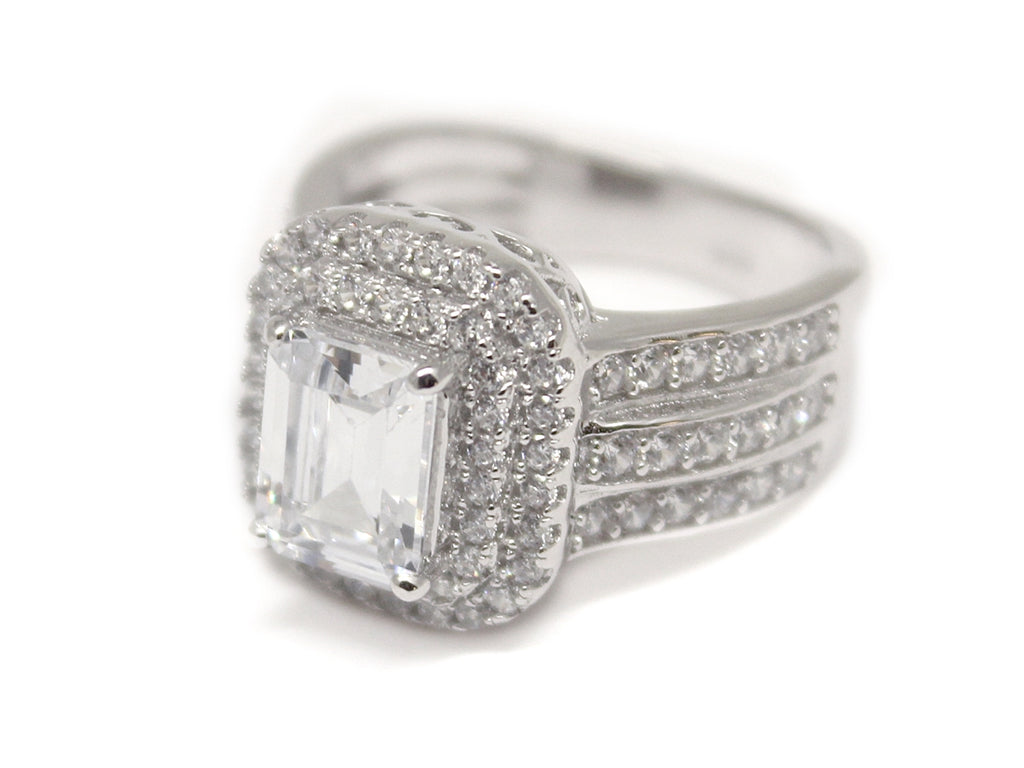 Sterling Silver Square-cut Double Halo CZ Ring - Allyanna Gifts