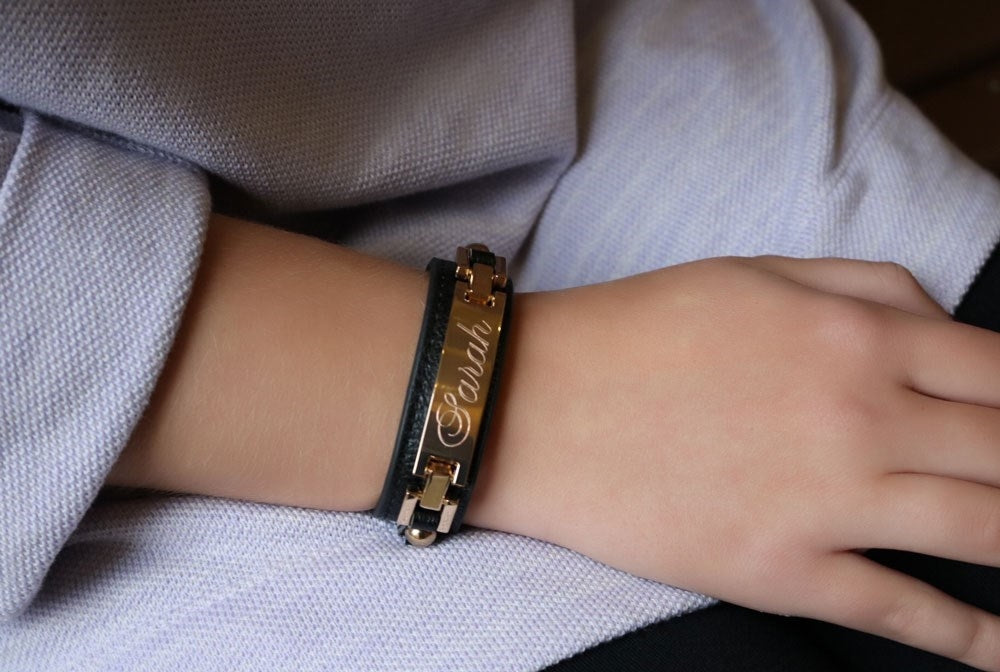 Rectangle Engravable Leather Cuffs - Allyanna Gifts