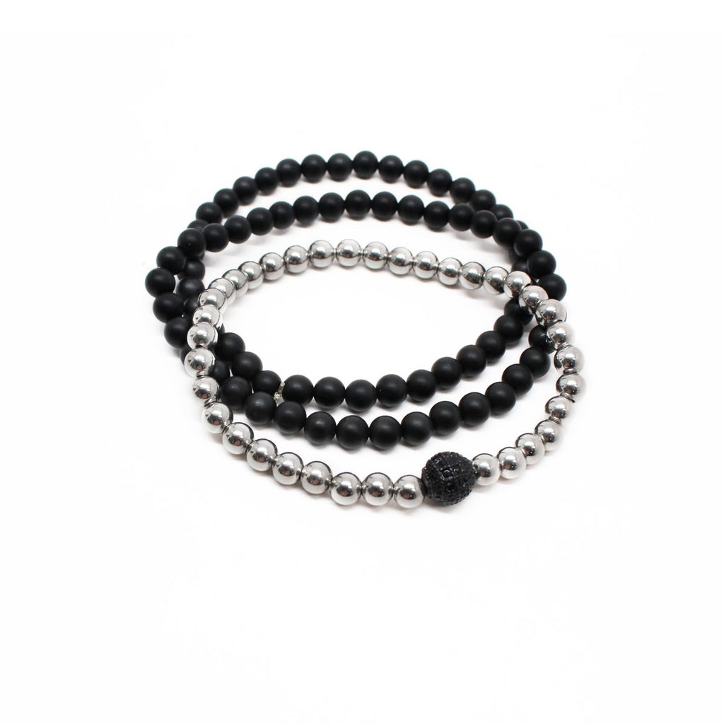 Stainless Steel and Black Agate Men's Beaded Bracelet Set