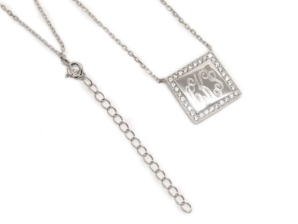 Sterling Silver Square Engravable CZ Necklace