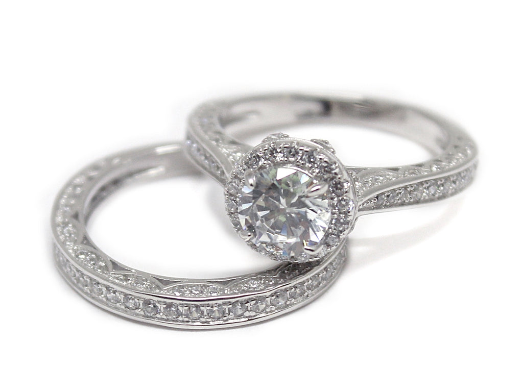 Sterling Silver Elevated Circle-cut Ring with Double CZ Band - Allyanna Gifts