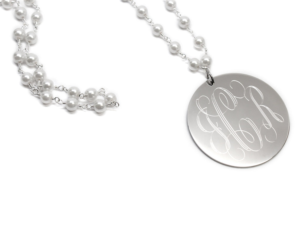 Engravable Pearl Large Disc Necklace