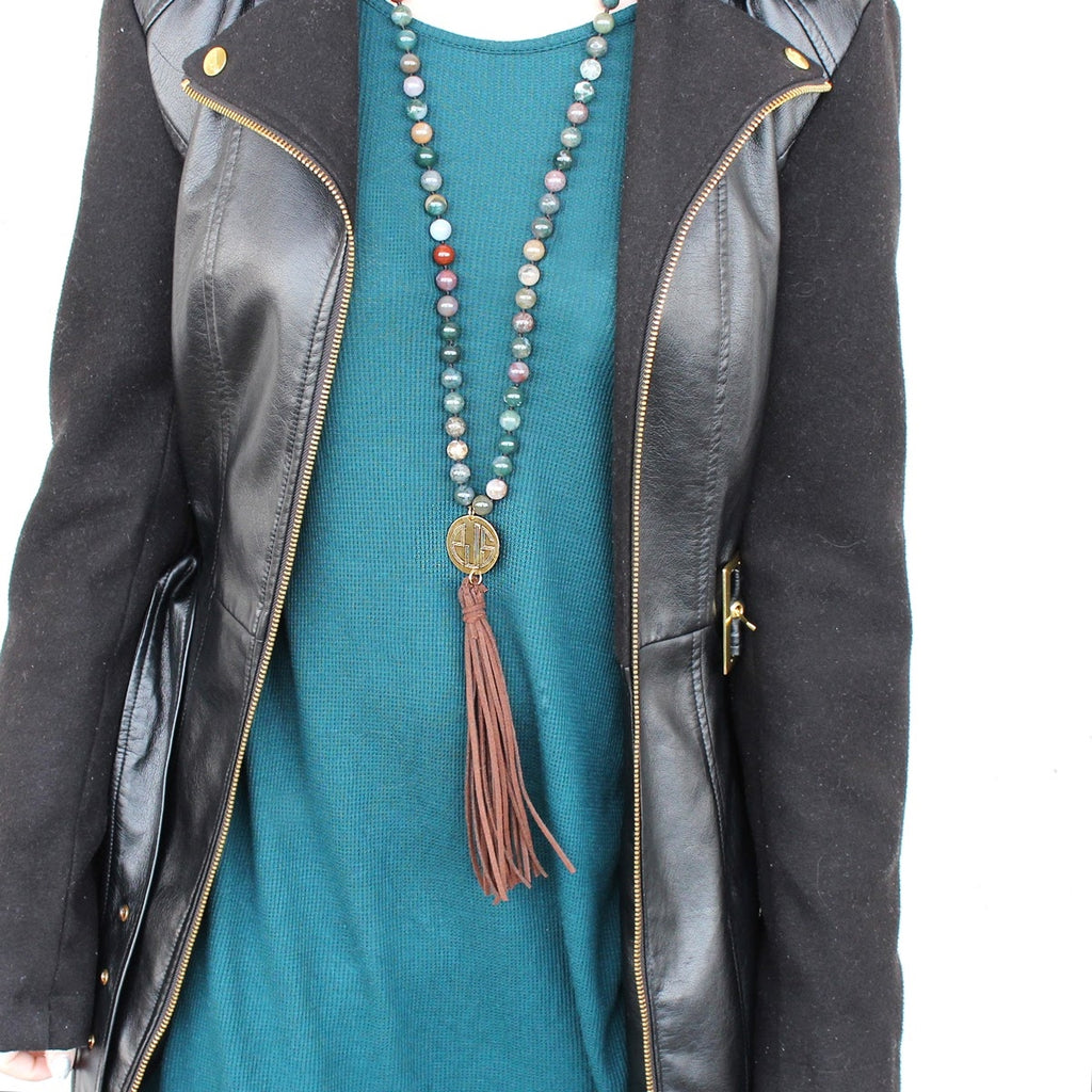 Green Agate Beaded Suede Tassel Necklace - Allyanna Gifts