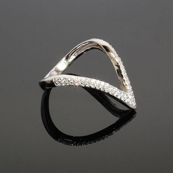 Sterling Silver Diamond Valley Ring