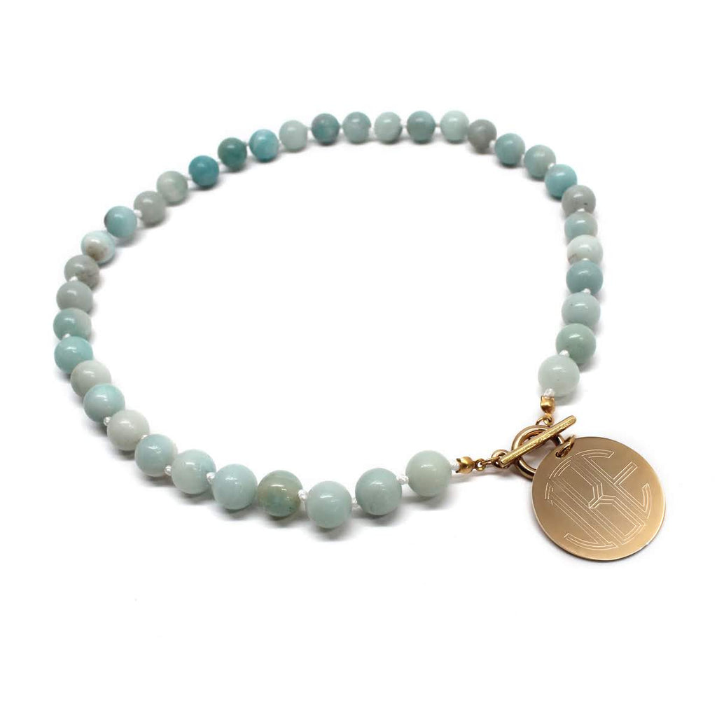 Tiffany's Style Engraved Agate Necklace