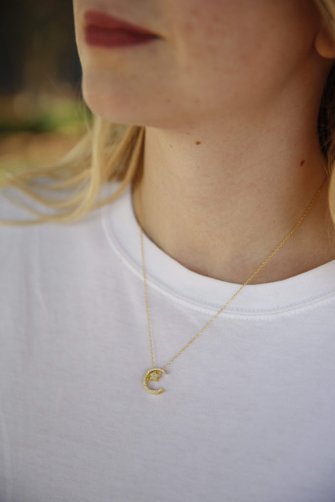Crescent x Star Cz Necklace