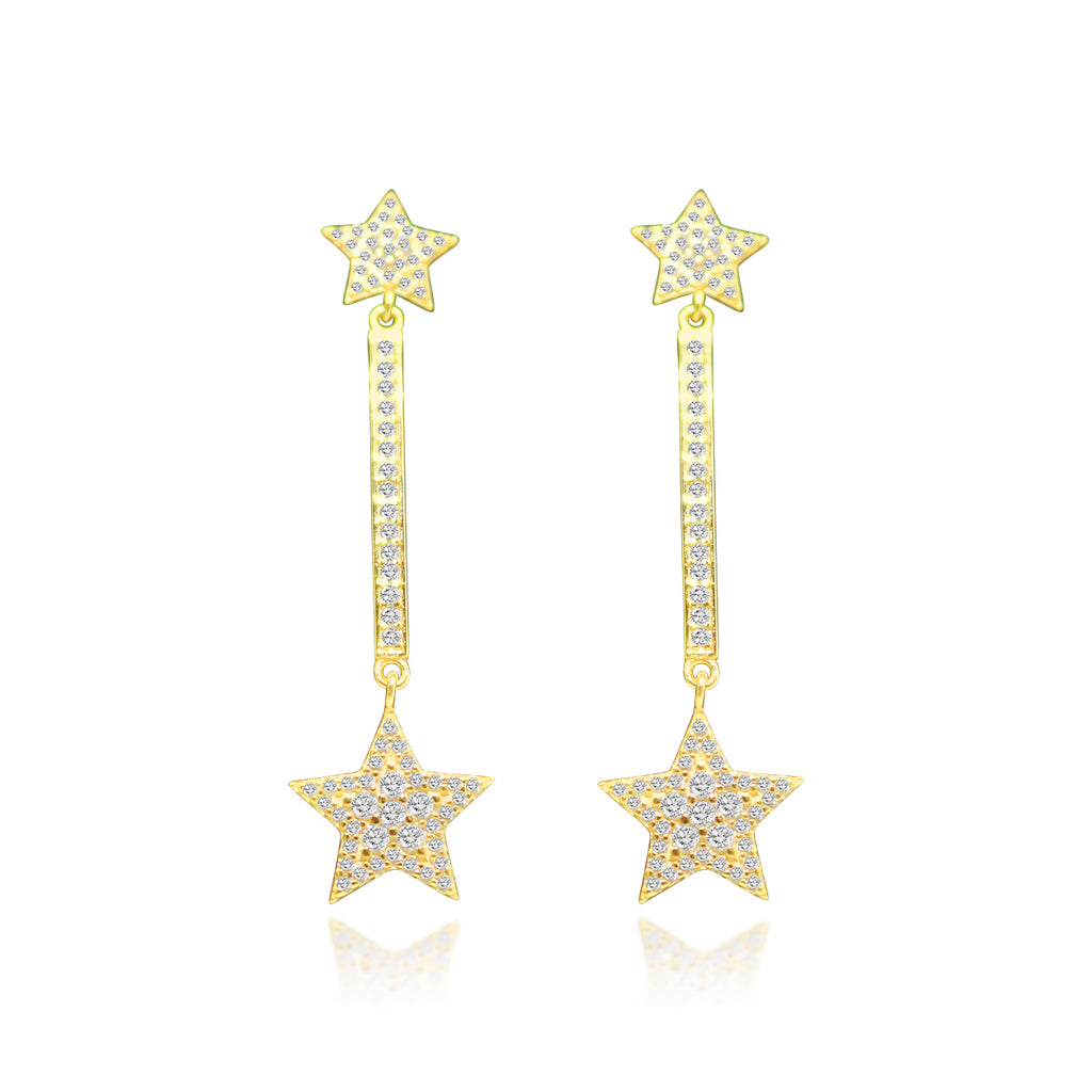 Sterling Silver Gold CZ Bar Star Earring