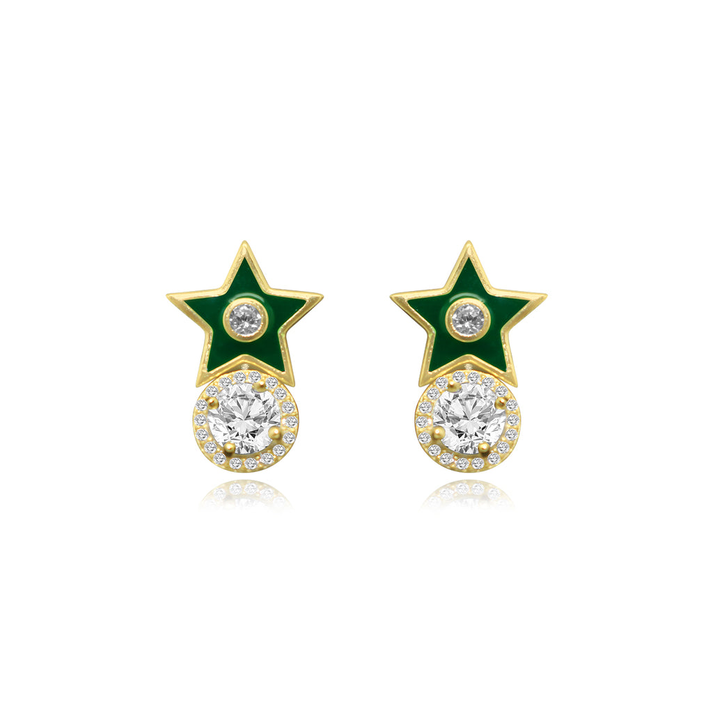 Gold Enamel & CZ Star / CZ Halo Duo Post Earring Set