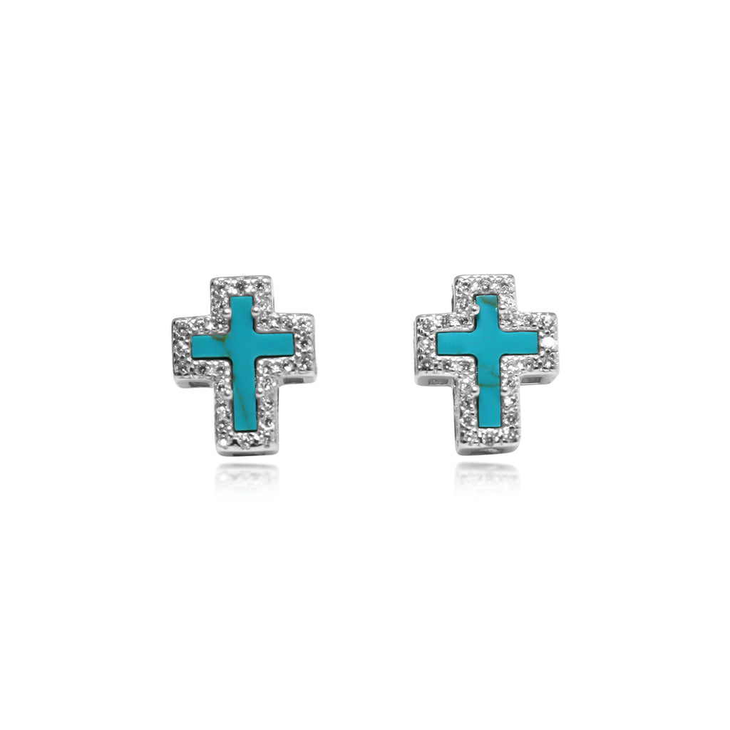 Silver Turquoise/CZ Cross Earrings
