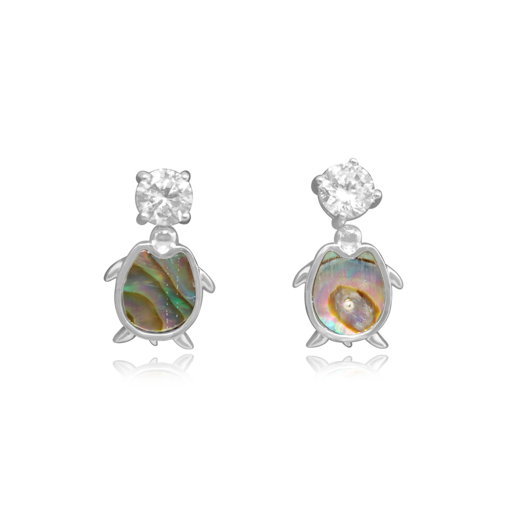 Sterling Silver Abalone Turtle CZ Stud Set