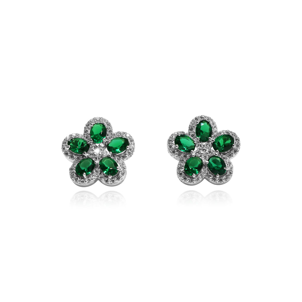 Sterling Silver Spinel & CZ Flower Design Earrings