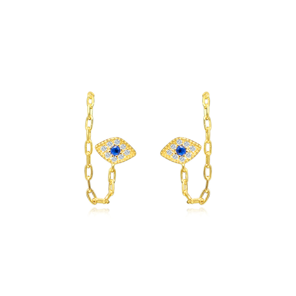 Sterling Silver CZ Front to Back Evil Eye Earrings