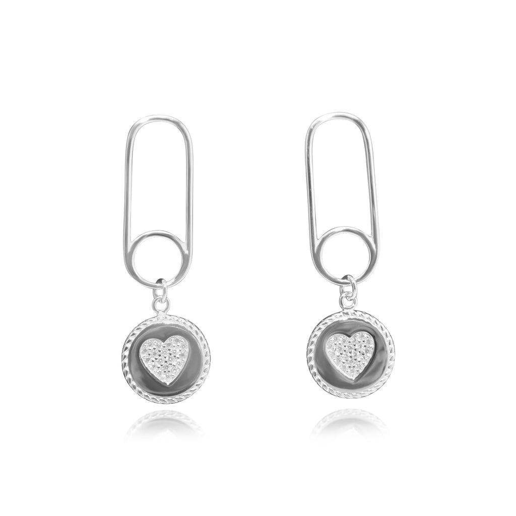 Sterling Silver CZ Heart Dangle Paperclip Chain Earrings