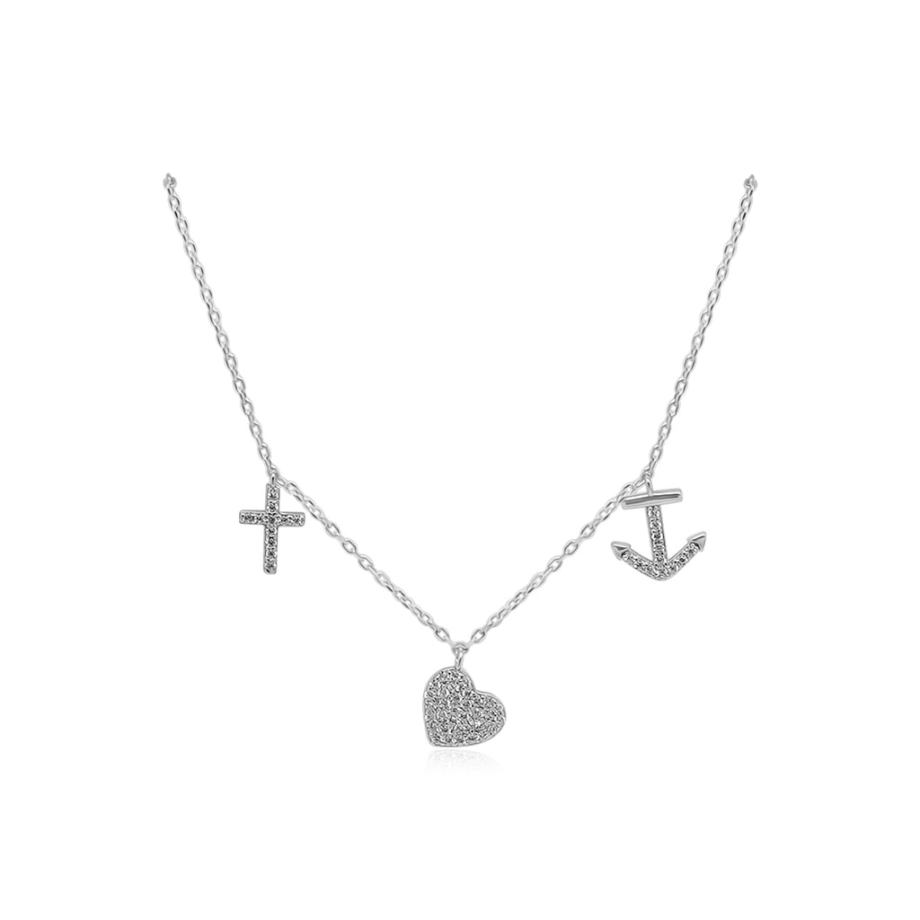 CZ Cross/Heart/Anchor Dangle Stations Necklace