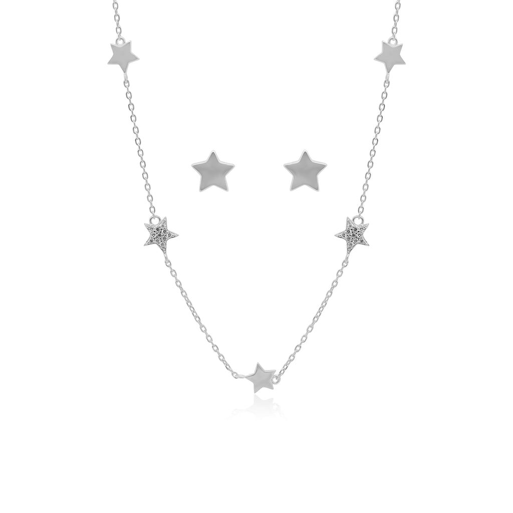 CZ Star Station Necklace & Post Earring Set
