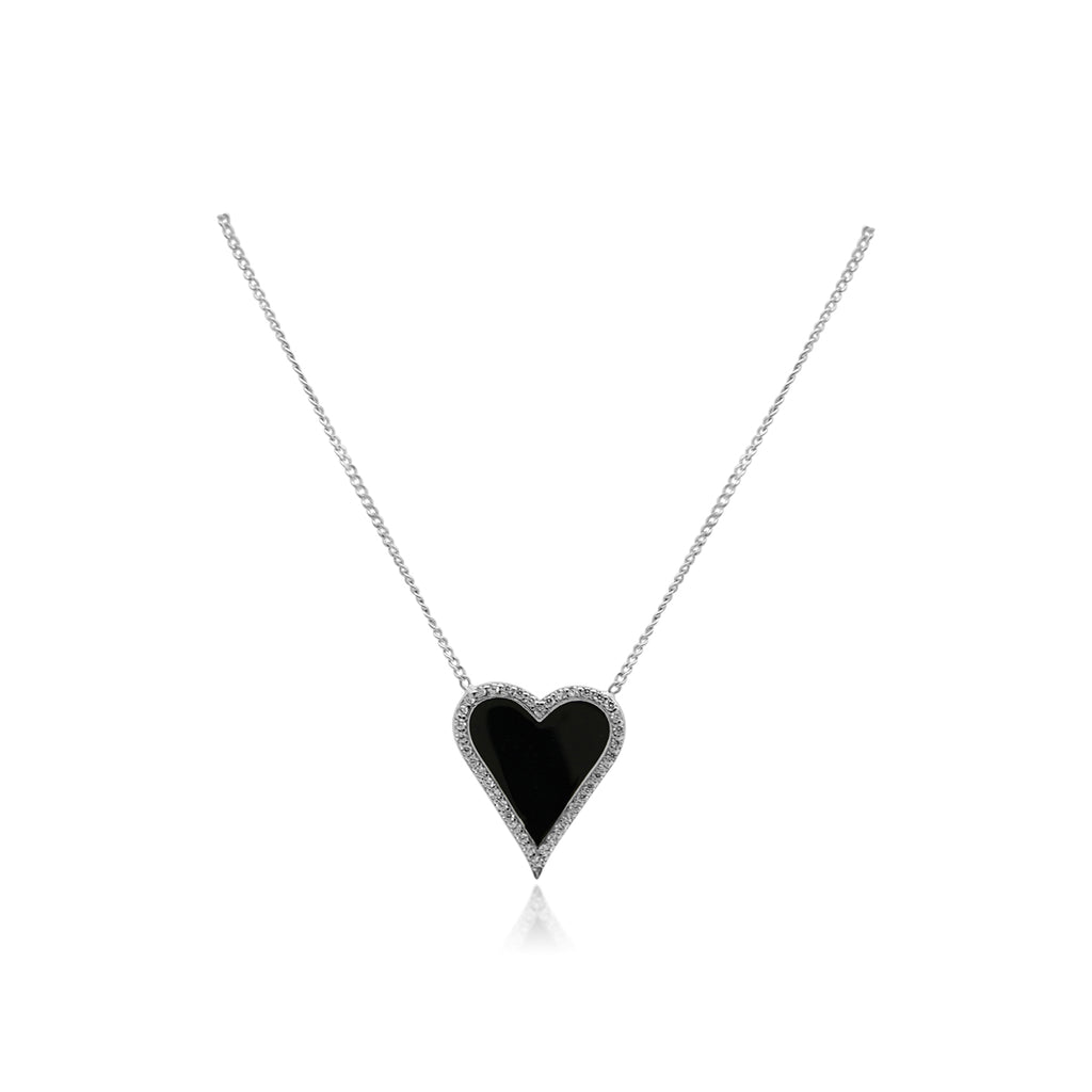 Sterling Silver Enamel Center w/ CZ Border Heart Station Necklace