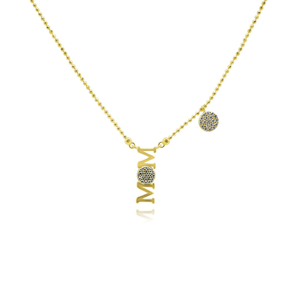 "Gold CZ ""MOM"" W/Pave Circle Dangle Station Necklace"