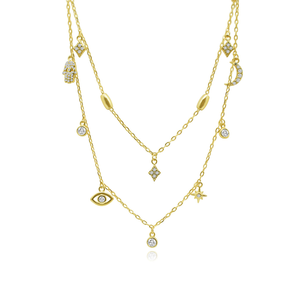 Gold CZ Hamsa, Evil Eye, Star Burst, Diamond, Crescent, Dangle Necklace
