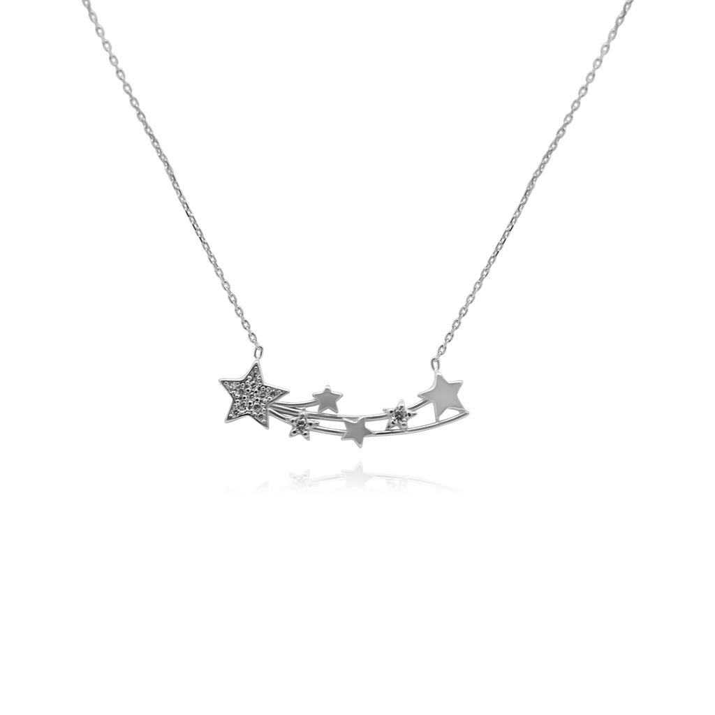 Silver Shooting Stars Necklace
