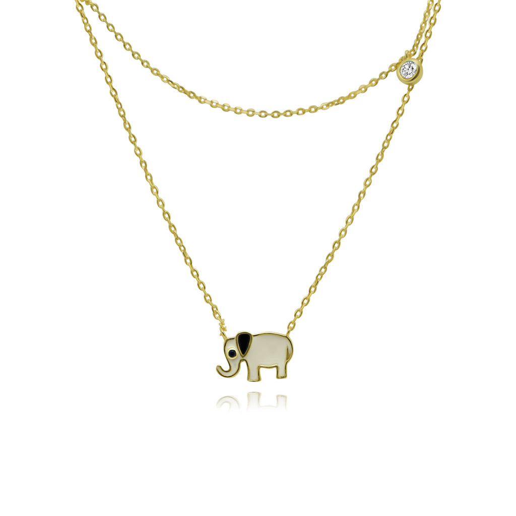 Gold Elephant Enamel Double Strand Necklace