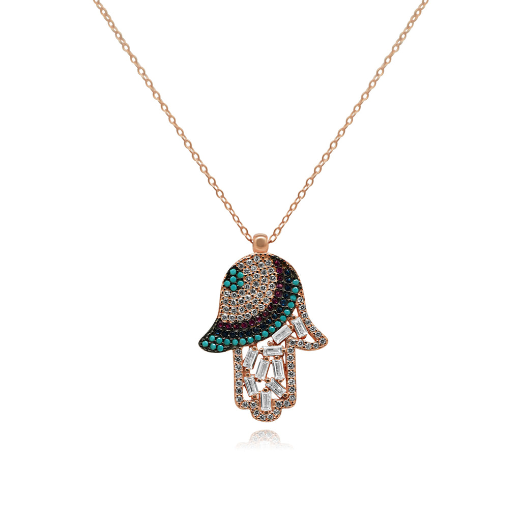 Rose Multi Color Hamsa Necklace