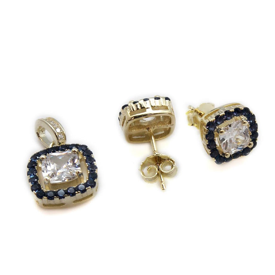 Gold CZ Sapphire Halo Post Earring/Necklace Pendant - Allyanna Gifts