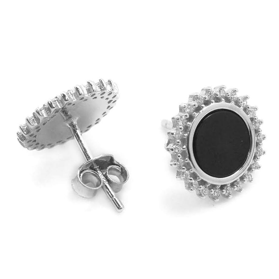 Black CZ Stone Post Earrings - Allyanna Gifts