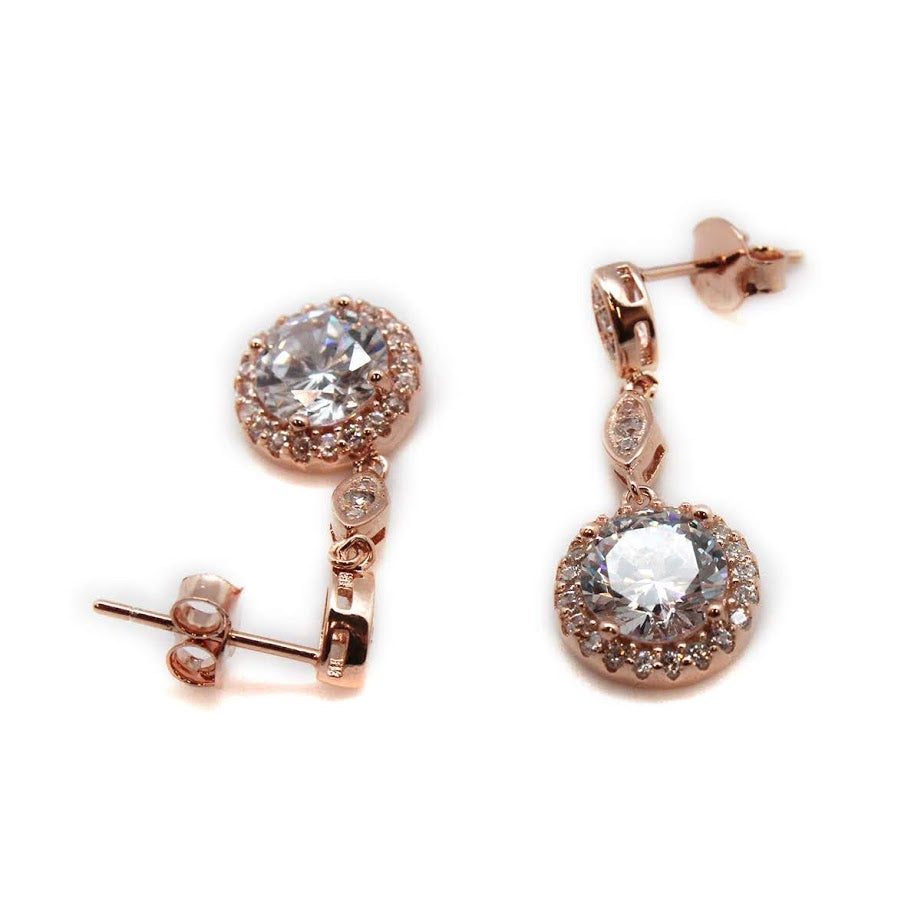 Dangly CZ Sparkle Halo Post Earrings - Allyanna Gifts