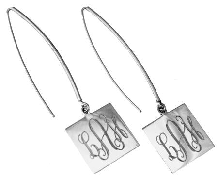 Engravable Square German Silver Long Wire Earrings