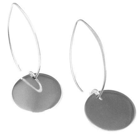 Engravable German Silver Circle Threader Earrings