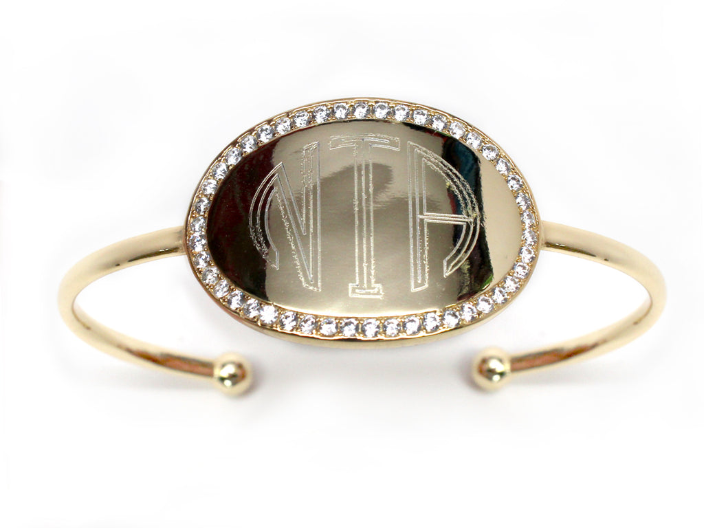 Engraved CZ Oval Bangle - Allyanna Gifts
