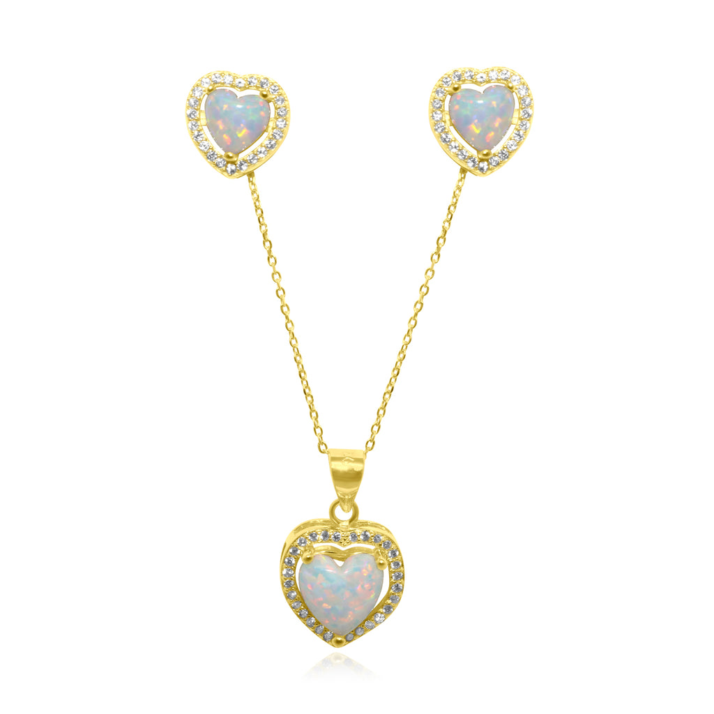 Gold Opal Heart Set